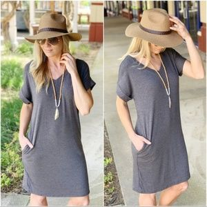 Charcoal V Neck Tee Shirt Dress